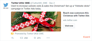 Small Business SME Social Media Guide, Hints, Tips and Advice - Promoted Twitter website card for clicks and conversions