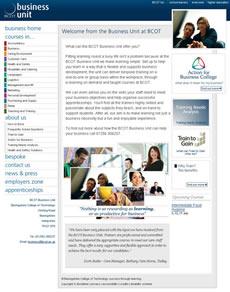 Website Design and Web Development for Basingstoke College of Technology BCoT Business Unit