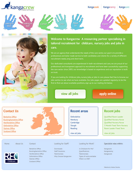 kangacrew childcare recruitment web design
