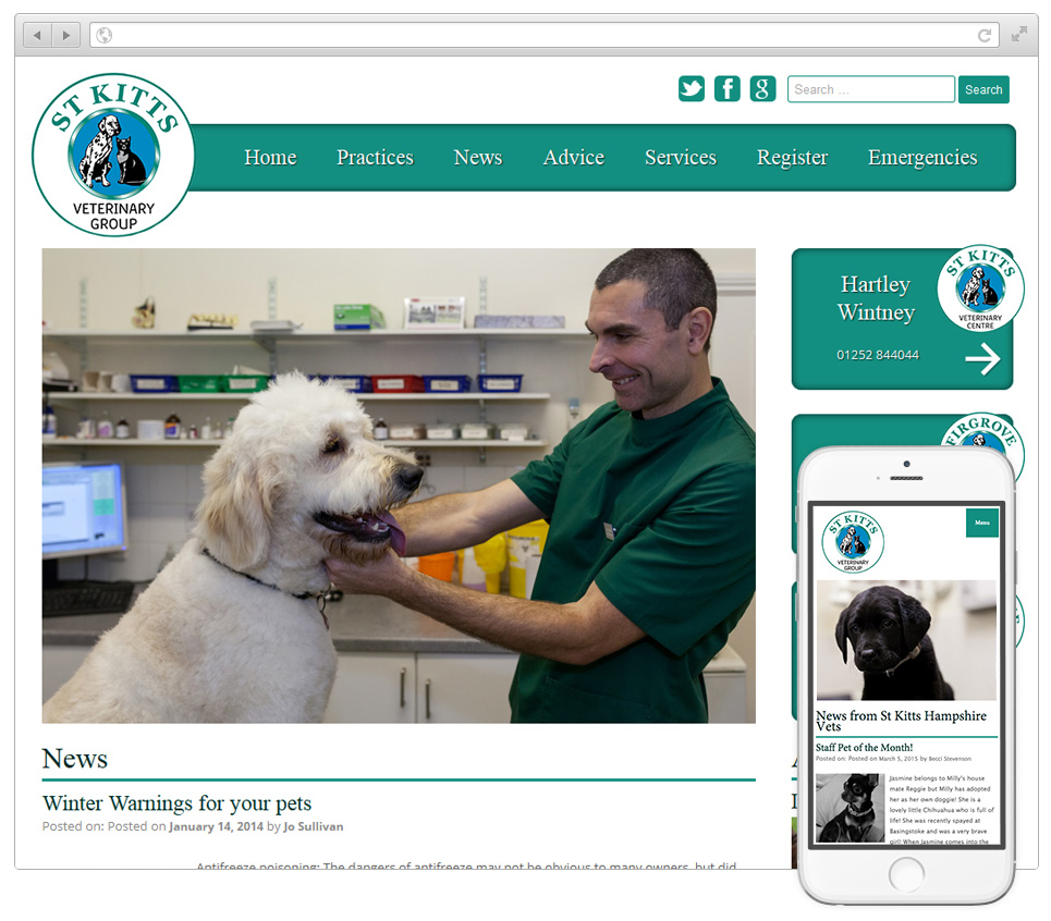 Web Design Hampshire - St Kitts Veterinary Group v2015001