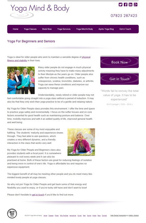 Yoga Mind and Body Web Design - Screen print 005 Yoga for beginners and older people 470PxWide72Dpi