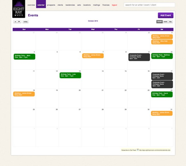 Eight Ray Music Musician and Band Booking and Management Agency Software SP003 Event calendar