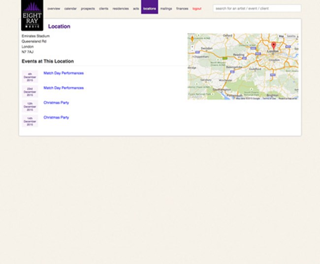 Eight Ray Music Musician and Band Booking and Management Agency Software SP005 Location overview