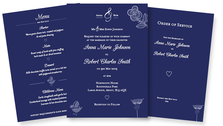 Graphic design for wedding stationery