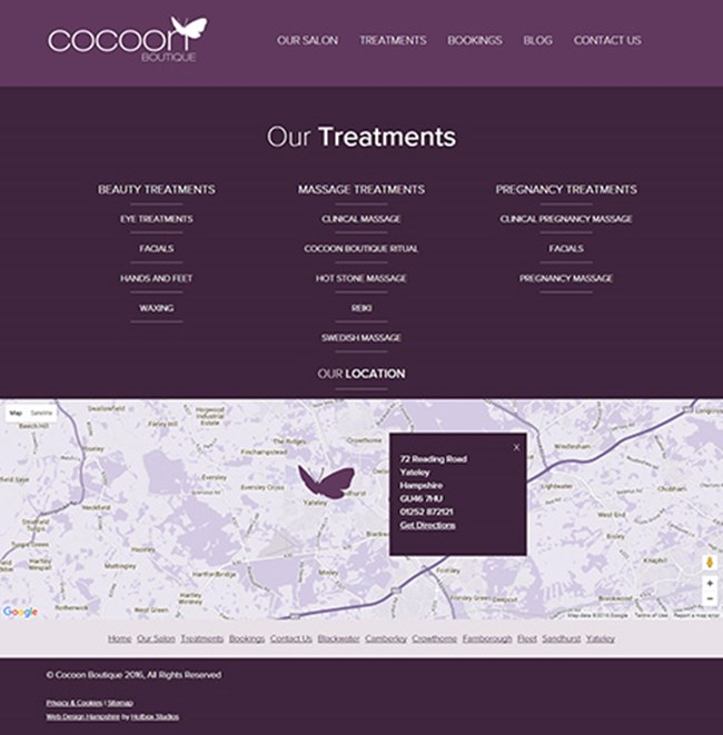 Cocoon Boutique Web Design - Screen print 003 - Our Treatments