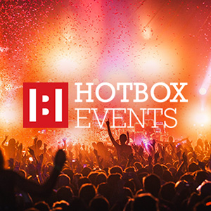 Hotbox Events logo with stage background photo