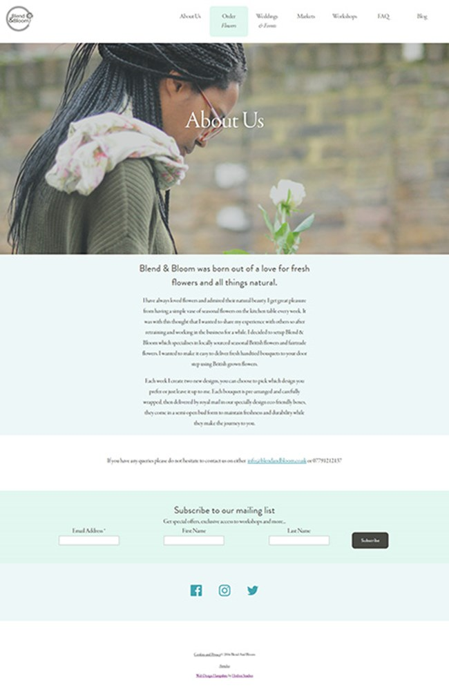 Blend and Bloom WordPress Web Design - Screen Print 002 - About