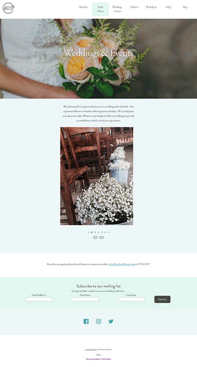 Blend and Bloom WordPress Web Design - Screen Print 004 - Weddings and Events