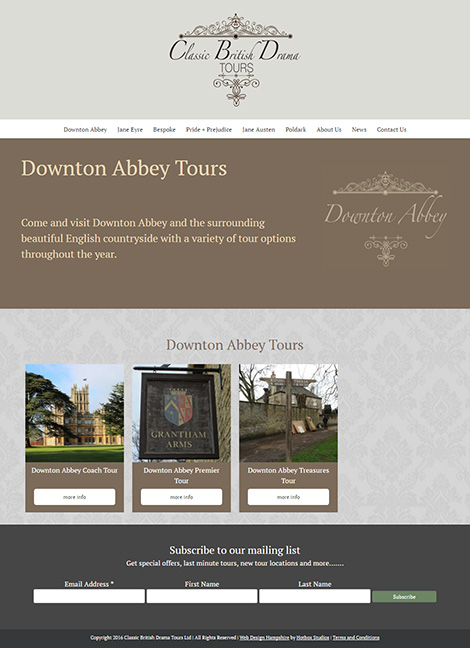 Classic British Drama Tours WordPress Web Design - Screen Print 002 Downton Abbey Tours