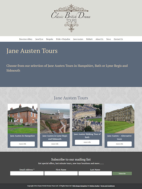 Classic British Drama Tours WordPress Web Design - Screen Print 003 Jane Austen Tours