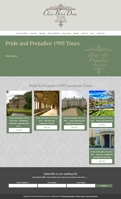 Classic British Drama Tours WordPress Web Design - Screen Print 005 Pride and Prejudice 1995 Tours