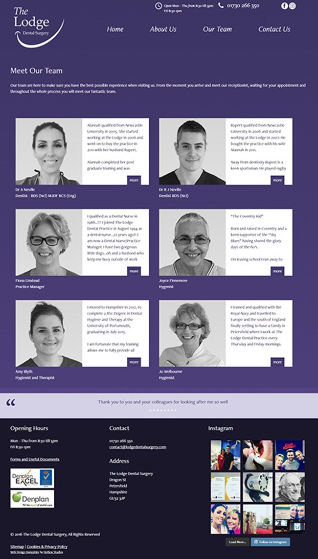 The Lodge Dental Surgery WordPress Web Design - Screen print 003 Meet the team