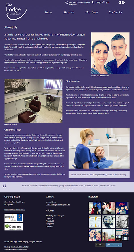 The Lodge Dental Surgery WordPress Web Design - Screen print 002 About