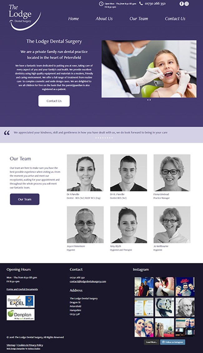 The Lodge Dental Surgery WordPress Web Design - Screen print 001 Homepage