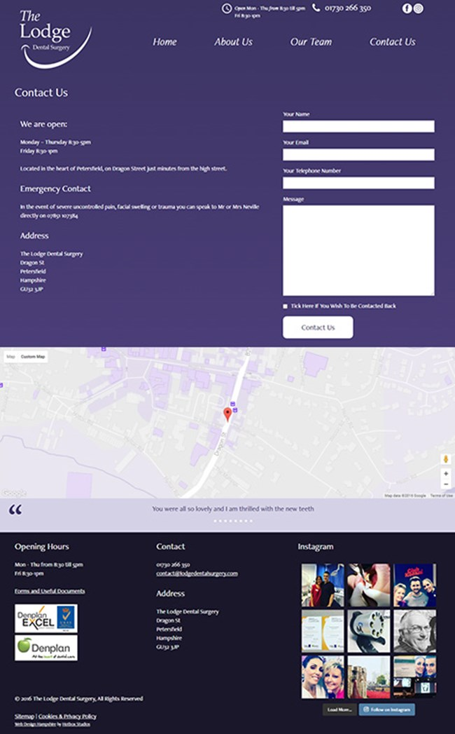 The Lodge Dental Surgery WordPress Web Design - Screen print 004 Contact
