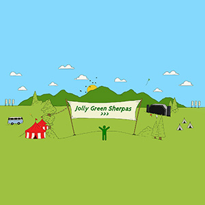 Jolly Green Sherpas Illustration festival site with Jolly Green Sherpas name and logo