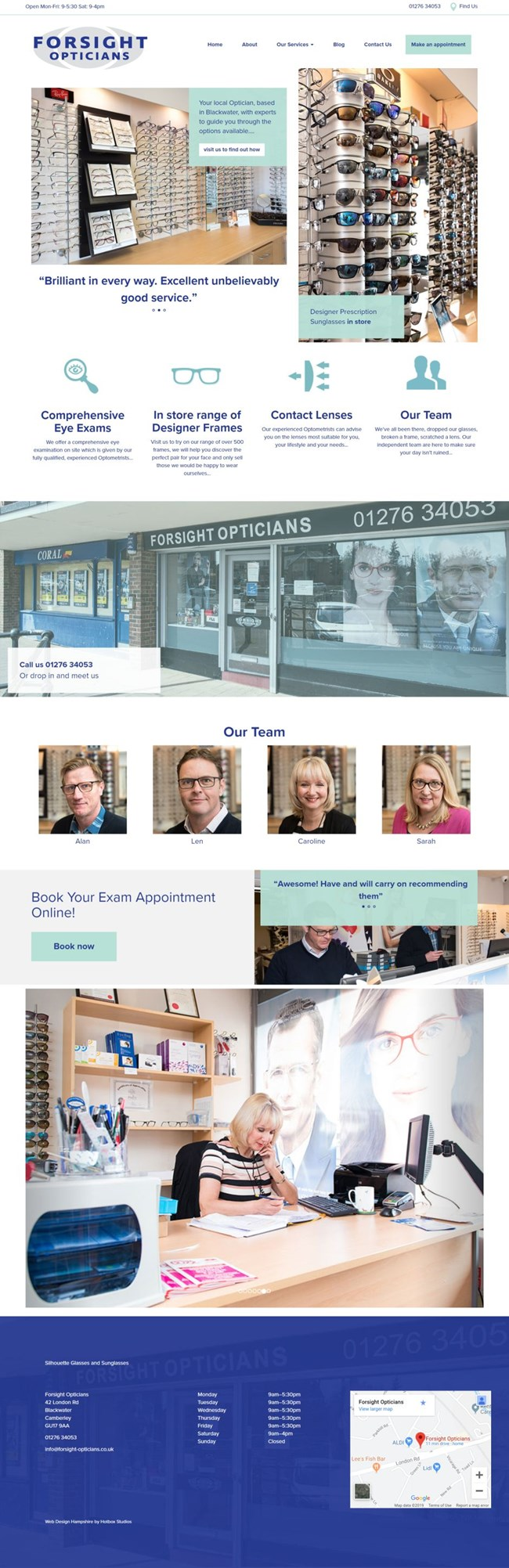 Forsight Opticians Wordpress Web Design SP001 Homepage