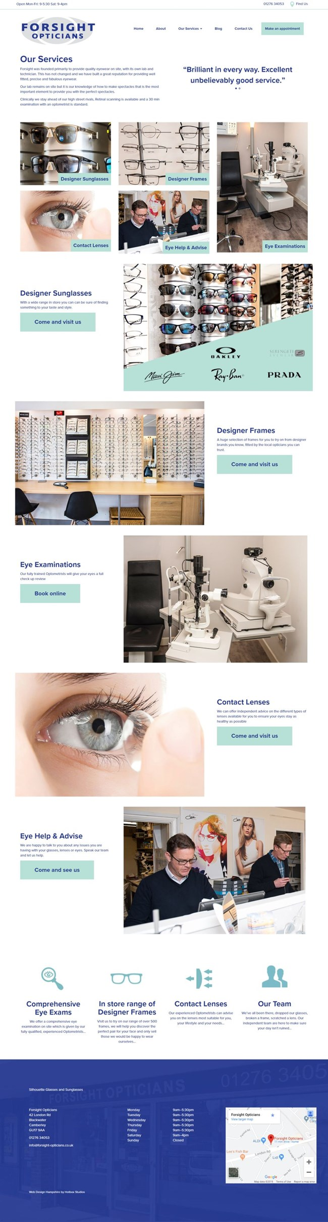 Forsight Opticians Wordpress Web Design SP003 Services