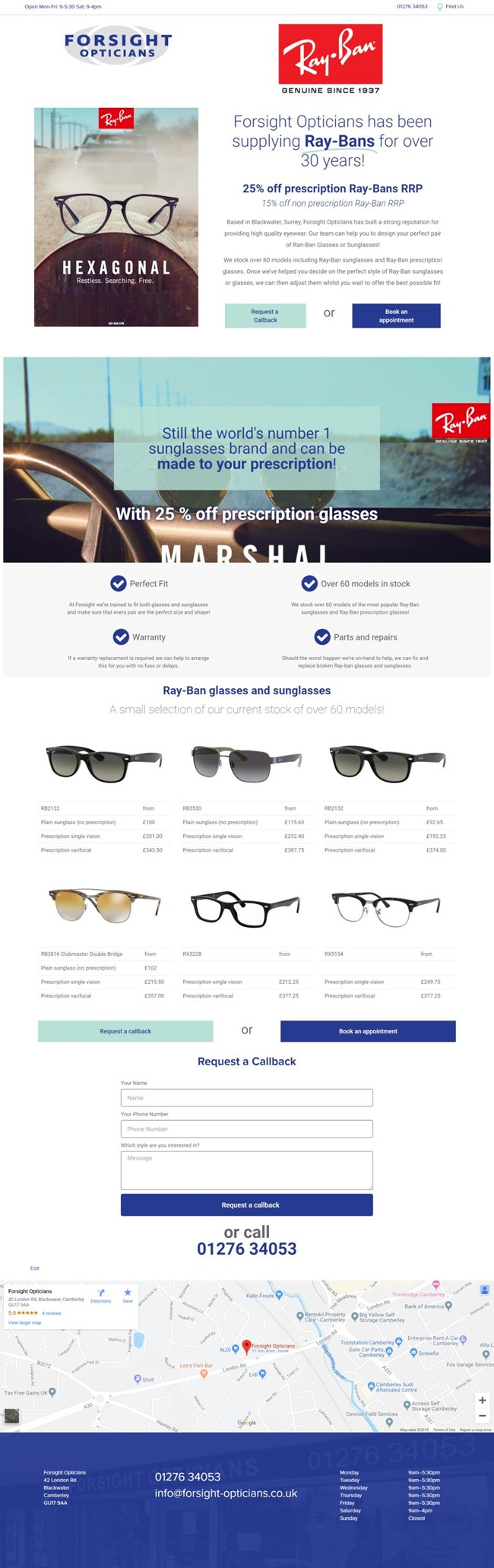 Forsight Opticians Wordpress Web Design SP004 Ray Ban Sunglasses