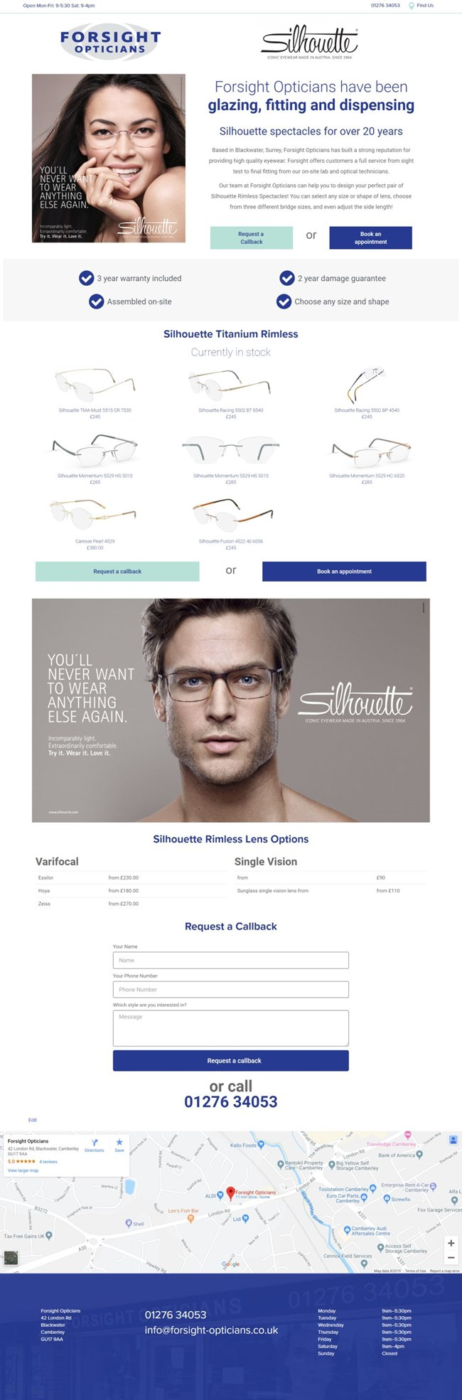 Forsight Opticians Wordpress Web Design SP005 Silhouette Glasses