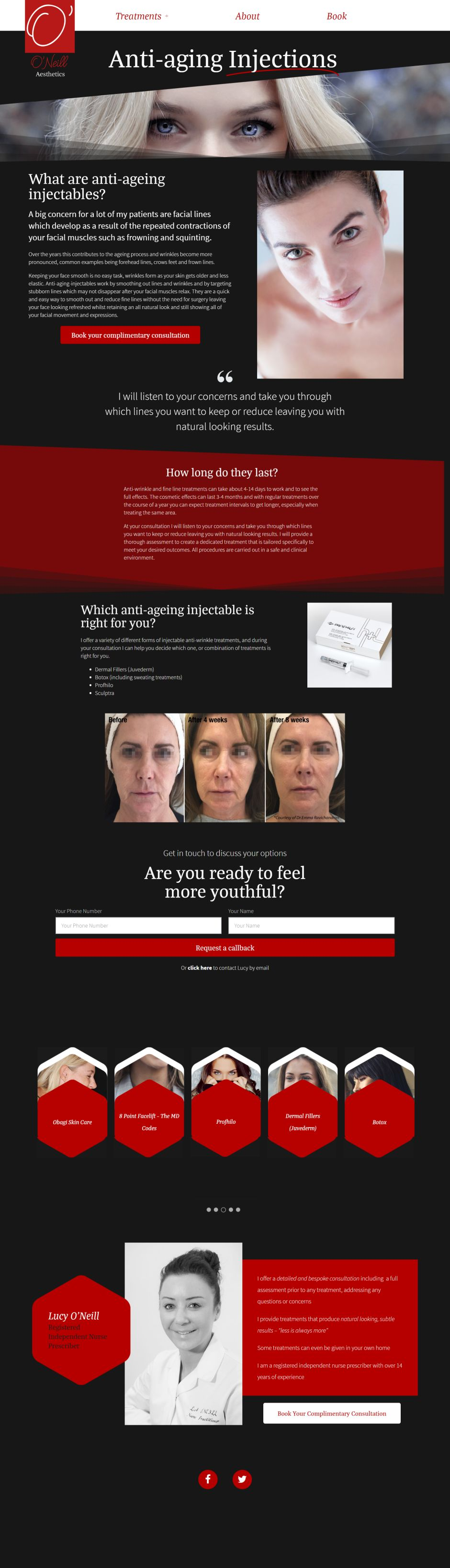 O'Neill Aesthetics Wordpress Web Design SP005 Anti Aging Injections