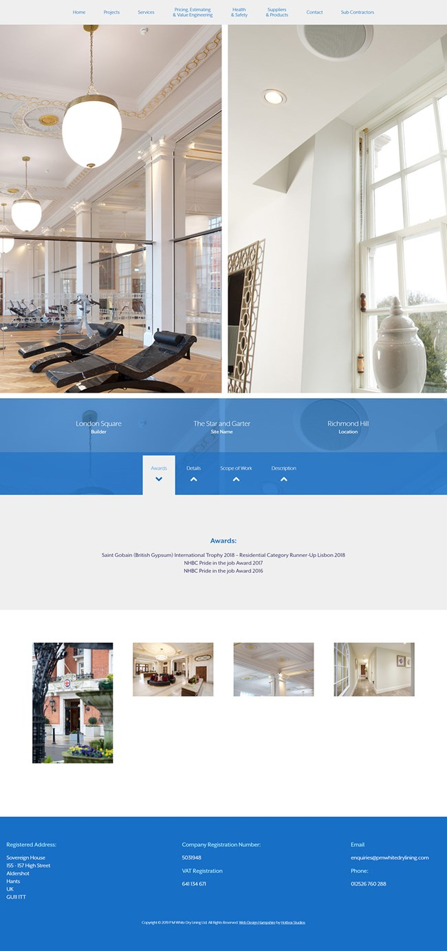 PM White Dry Lining Website Design and WordPress Development SP003 Project Star And Garter