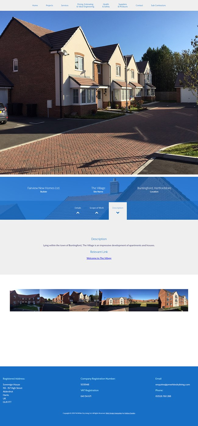 PM White Dry Lining Website Design and WordPress Development SP004 Project Fairview New Homes