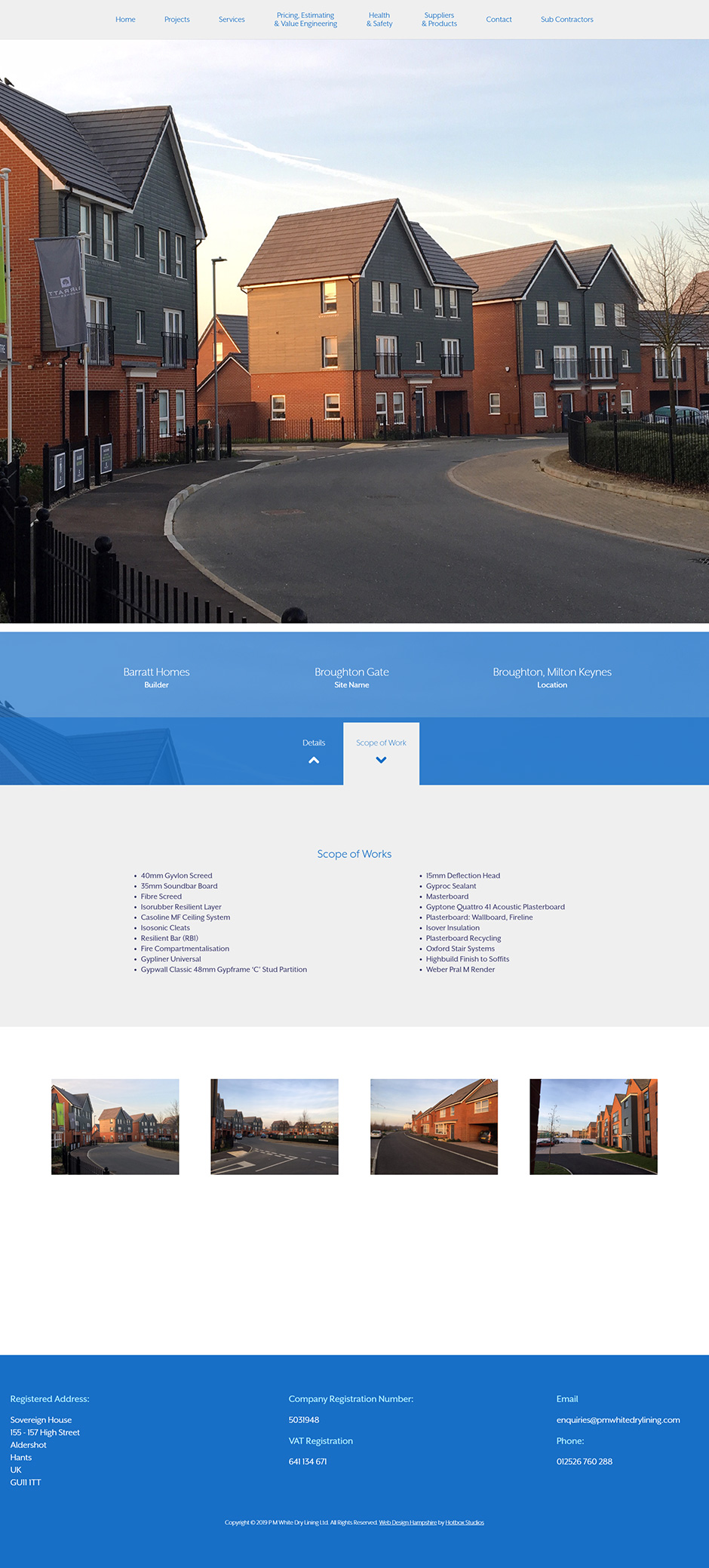 PM White Dry Lining Website Design and WordPress Development SP005 Project Broughton Gate