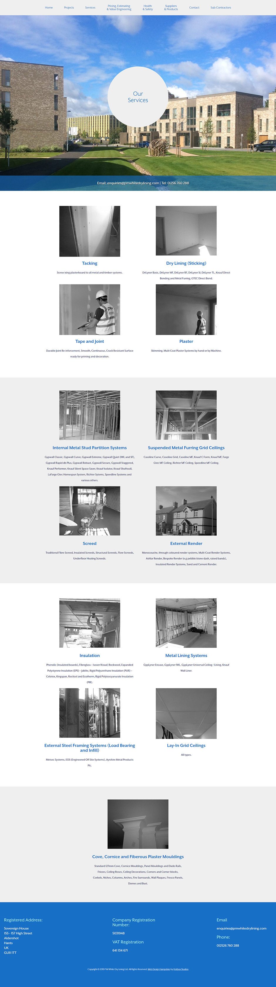 PM White Dry Lining Website Design and WordPress Development SP006 Services