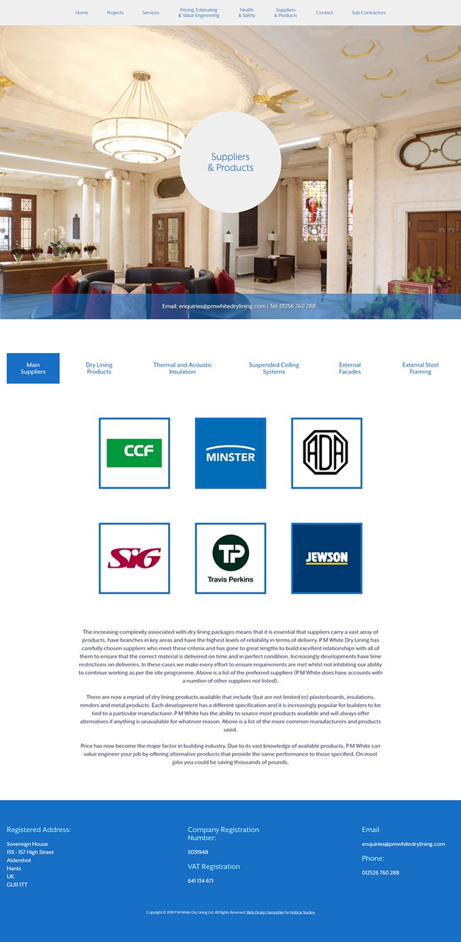 PM White Dry Lining Website Design and WordPress Development SP009 Suppliers And Products