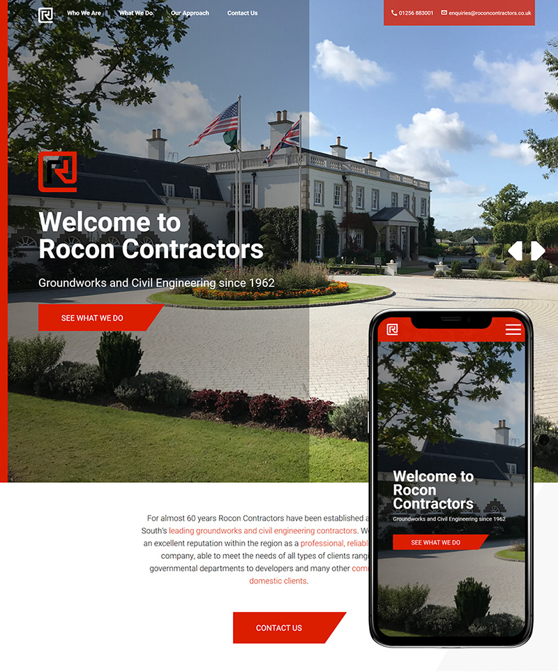Hampshire Website Design Rocon Contractors SP001 Homepage Responsive 800x963Px72Dpi
