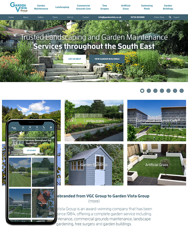 Hampshire Website Design Garden Vista Group SP001 Homepage Responsive 800x980Px72Dpi