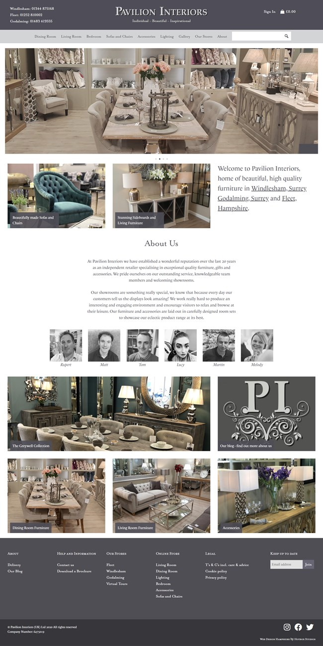 Pavilion Interiors Website Design and WordPress Web Development SP001 Homepage