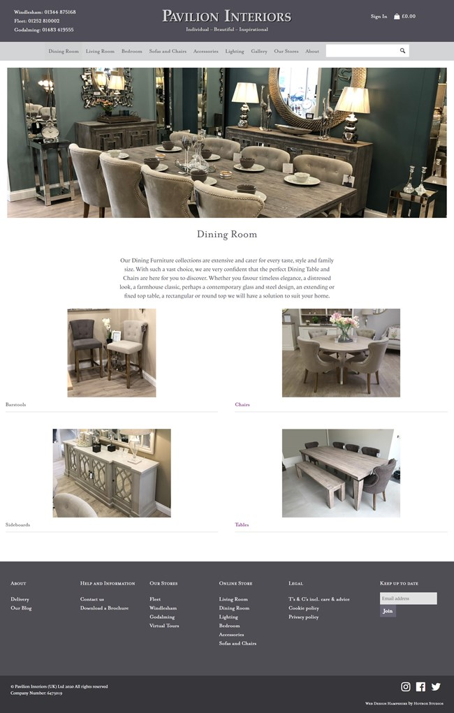 Pavilion Interiors Website Design and WordPress Web Development SP002 Area Dining Room
