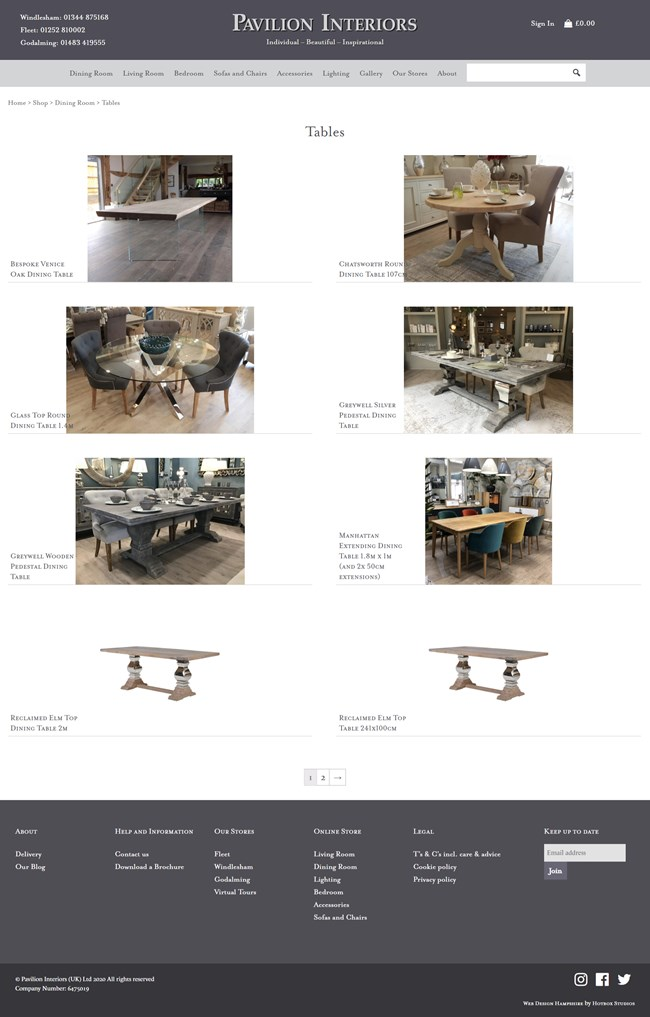Pavilion Interiors Website Design and WordPress Web Development SP003 Area Dining Room Dining Tables