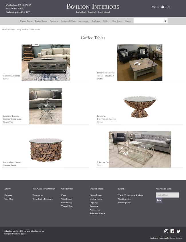 Pavilion Interiors Website Design and WordPress Web Development SP005 Area Living Room Coffee Table