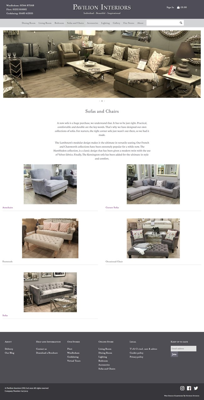 Pavilion Interiors Website Design and WordPress Web Development SP008 Area Sofas And Chairs