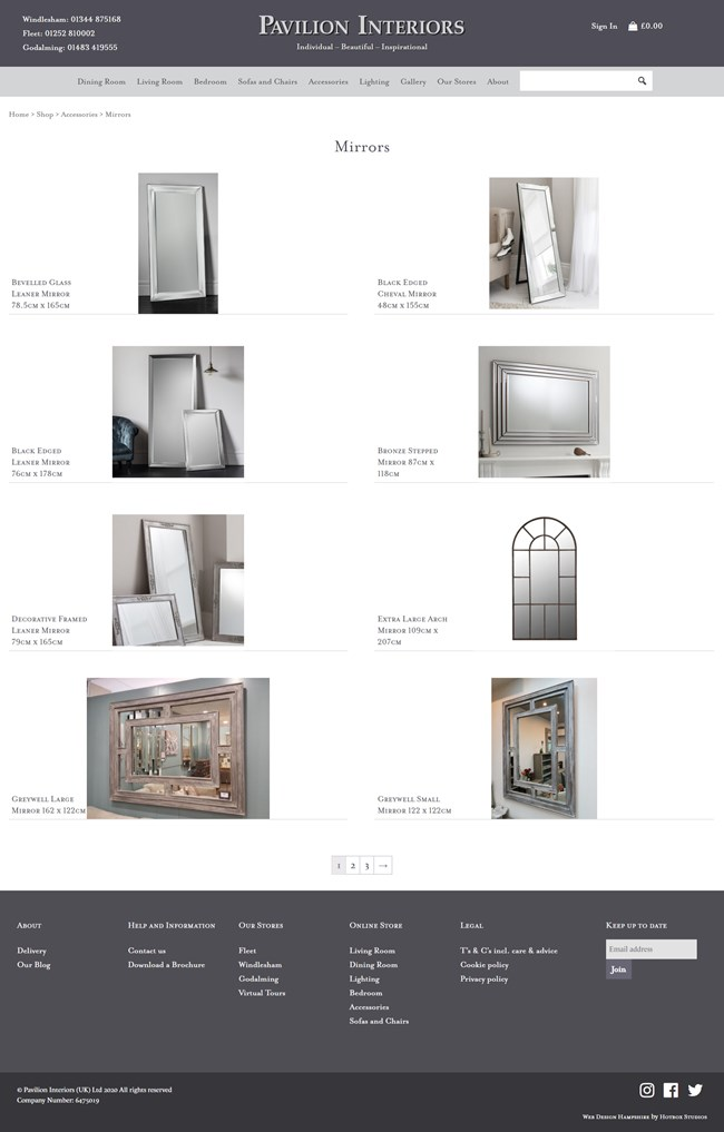 Pavilion Interiors Website Design and WordPress Web Development SP010 Area Accessories Mirrors