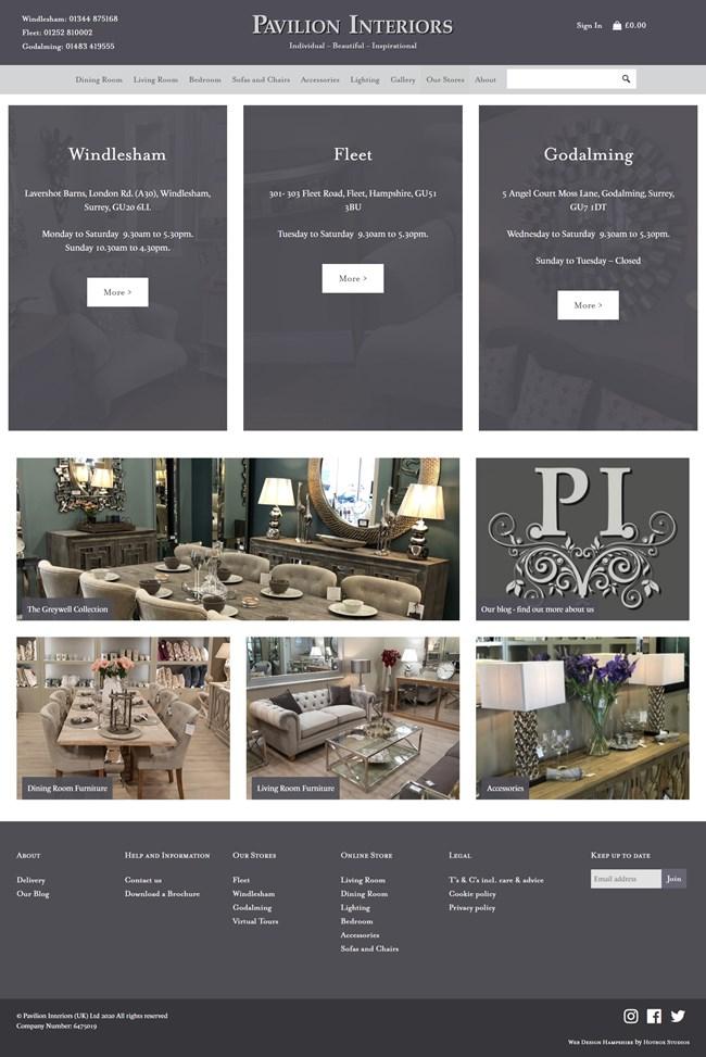 Pavilion Interiors Website Design and WordPress Web Development SP013 Our Stores