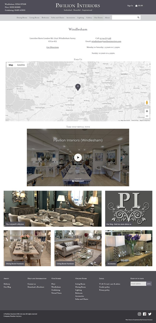 Pavilion Interiors Website Design and WordPress Web Development SP015 Our Stores Windlesham