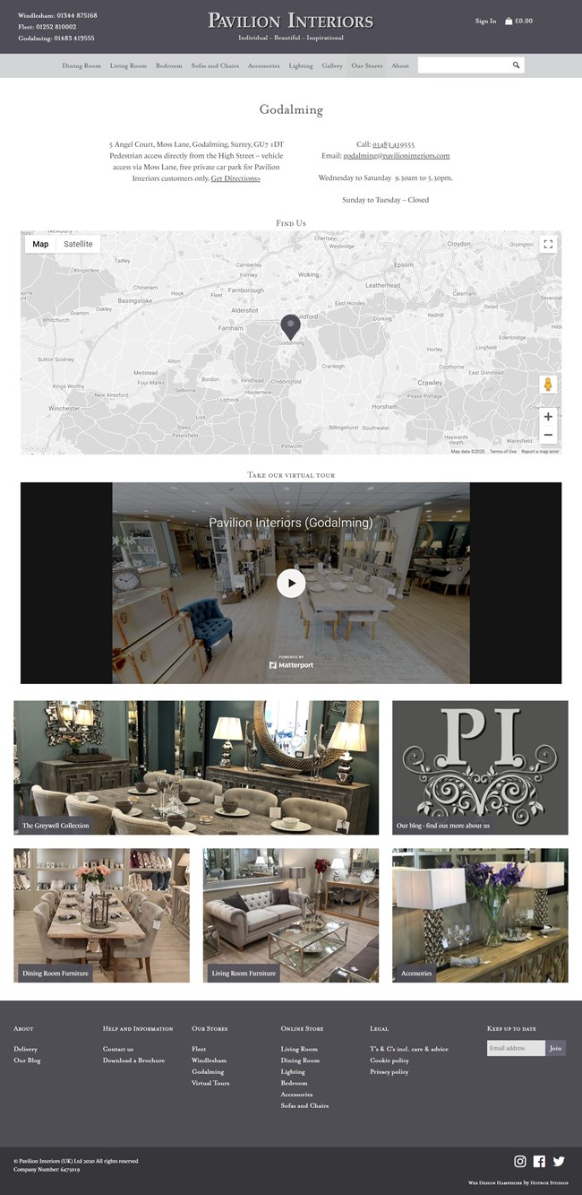 Pavilion Interiors Website Design and WordPress Web Development SP016 Our Stores Godalming