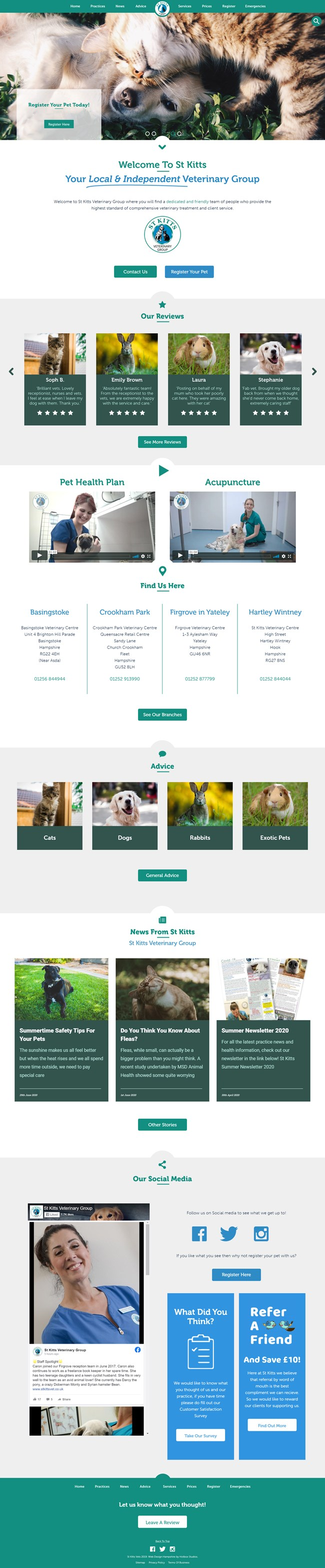 St Kitts Vet Website Design and WordPress Web Development SP001 Homepage