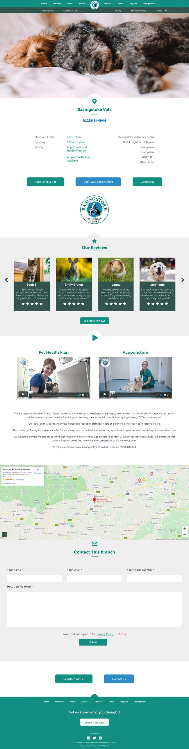 St Kitts Vet Website Design and WordPress Web Development SP004 Practices Basingstoke Vets