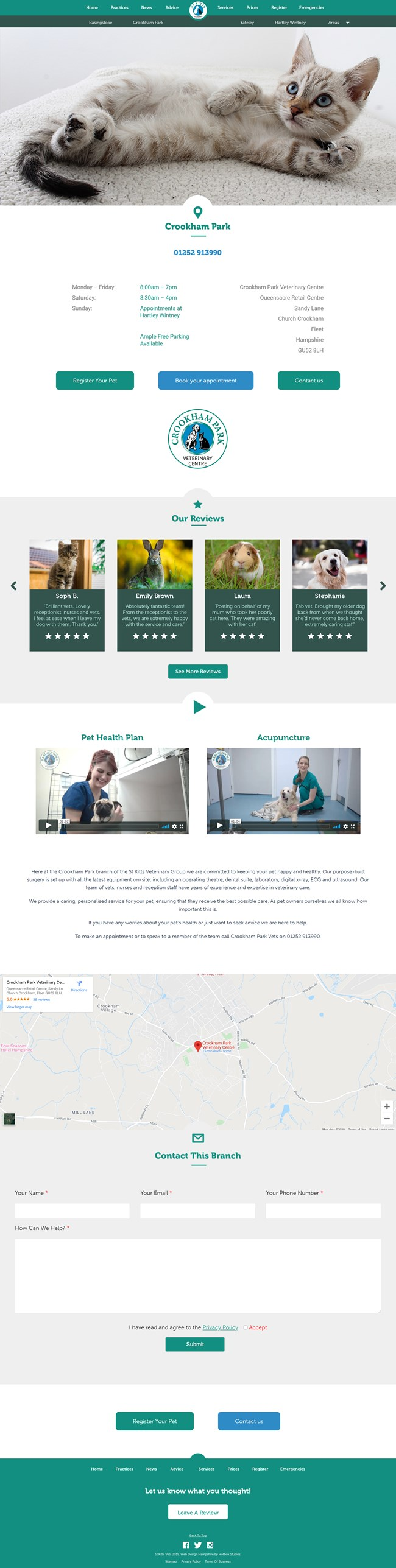 St Kitts Vet Website Design and WordPress Web Development SP005 Practices Church Crookham Vets