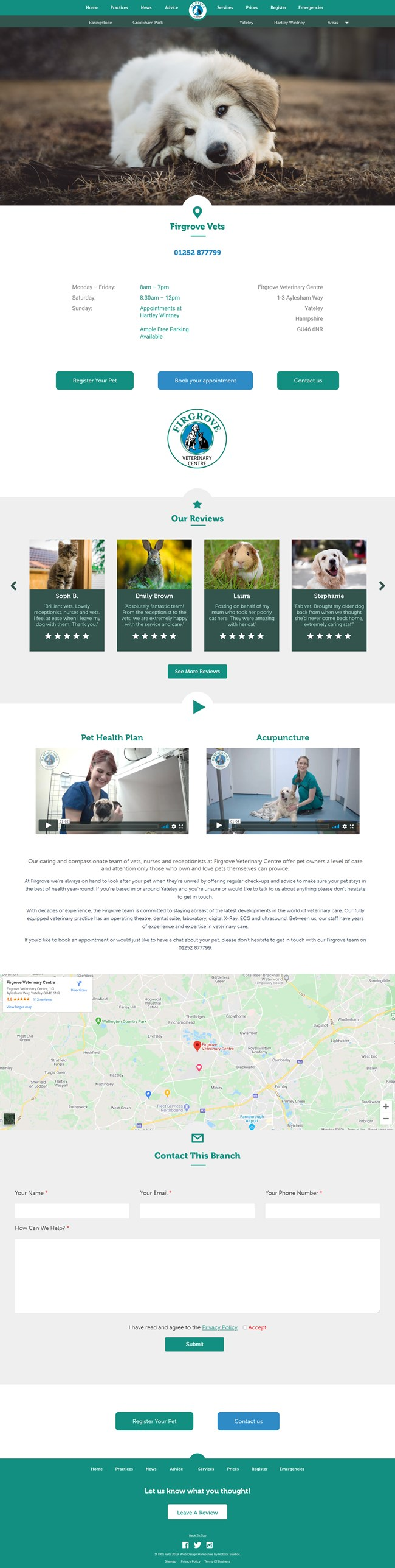 St Kitts Vet Website Design and WordPress Web Development SP006 Practices Yateley Vets In Firgrove