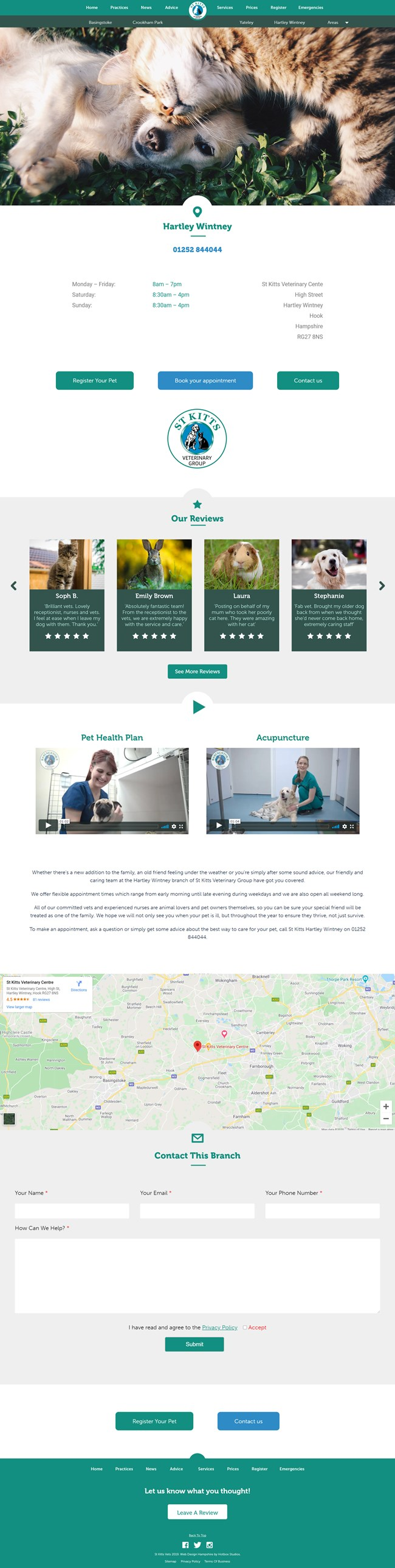 St Kitts Vet Website Design and WordPress Web Development SP007 Practices Hartley Wintney Vets