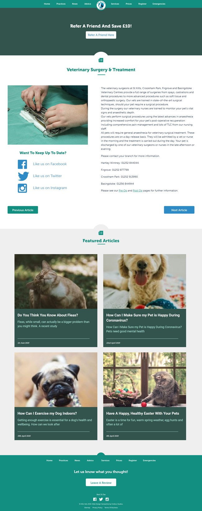 St Kitts Vet Website Design and WordPress Web Development SP013 Services Veterinary Surgery Treatment