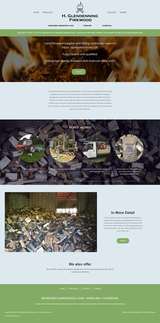 H Glendenning Firewood Website Design and WordPress Web Development SP001 Homepage