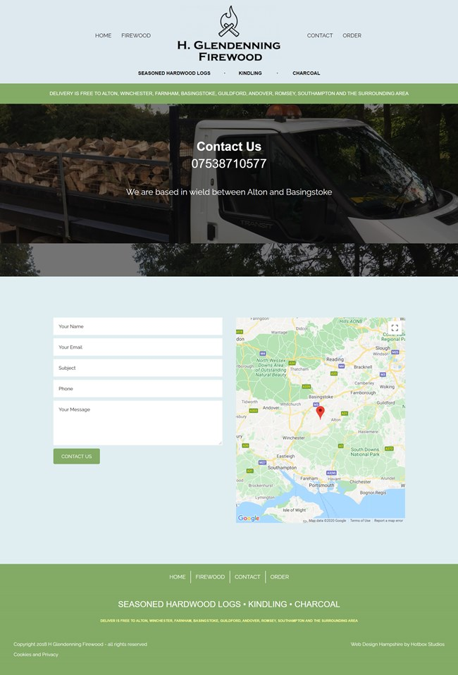H Glendenning Firewood Website Design and WordPress Web Development SP003 Contact