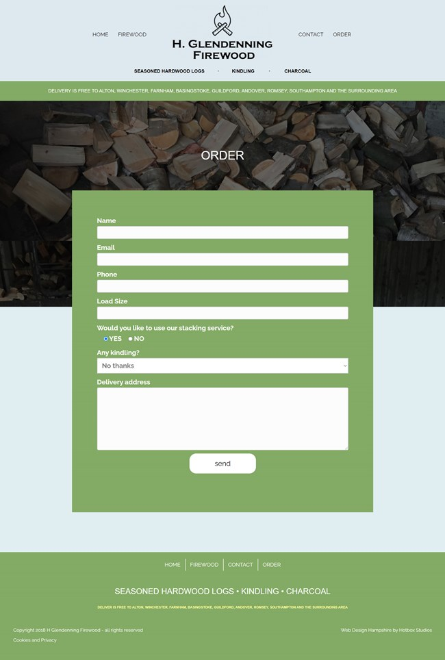 H Glendenning Firewood Website Design and WordPress Web Development SP004 Order